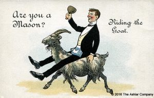 freemason riding a goat